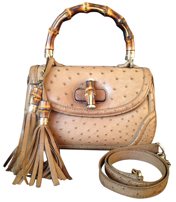 Gucci New Bamboo Ostrich gold