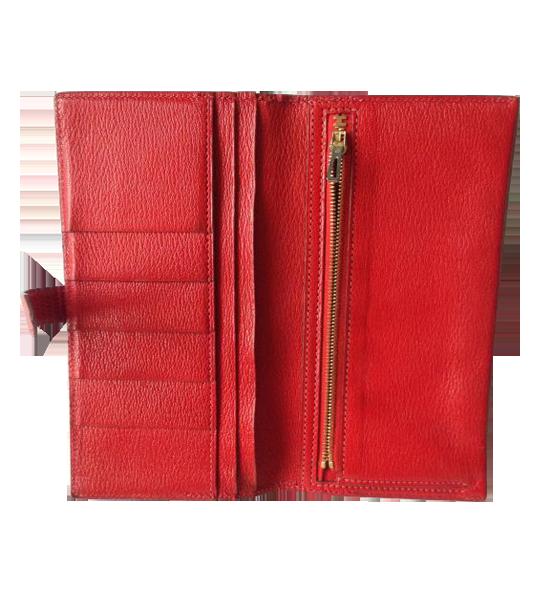 Portefeuille Hermès Béarn en Lézard Rouge