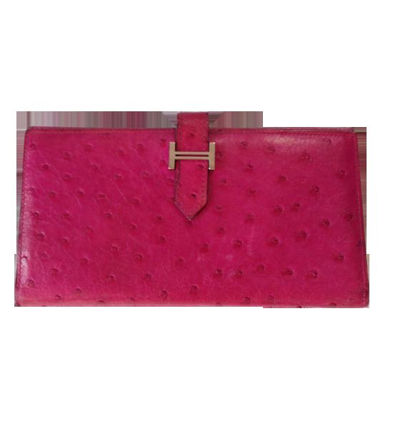 Hermes Bearn Fuschia Ostrich wallet