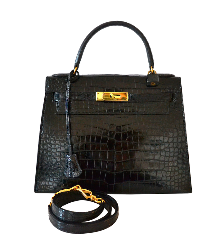 Bandoulière en crocodile pour sac Hermès