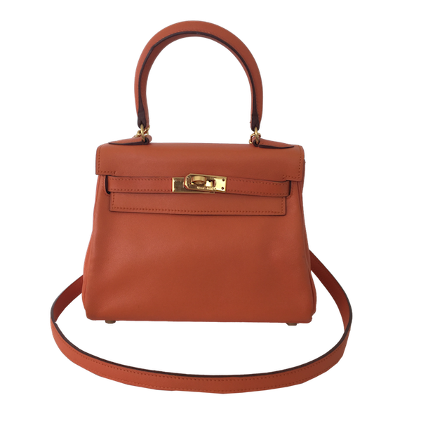 Sac Hermès modèle Kelly 20 Swift Orange