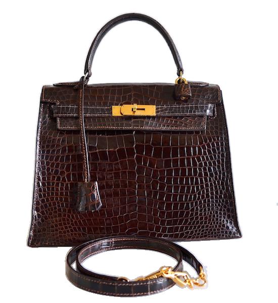 Sac Hermès Kelly 28 crocodile Porosus Havane