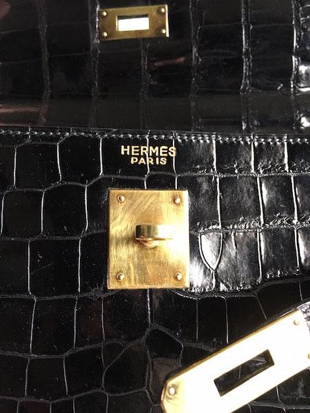 Hermès Kelly 32 Crocodile Noir