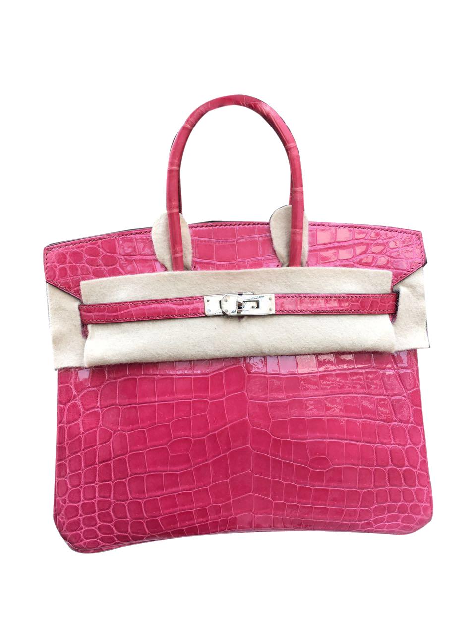 Sac Hermès Birkin 25 Porosus Rose Sheherazade