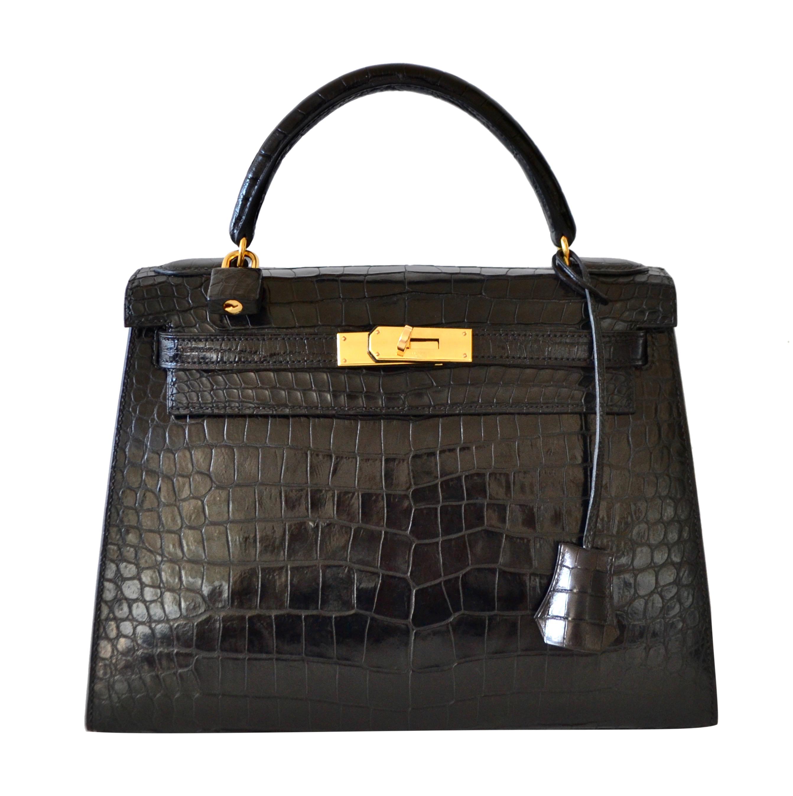 Sac Hermès Kelly 28 Crocodile Noir